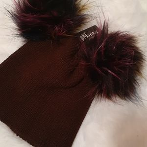 Brown Double Pompom Iconic Beanies
